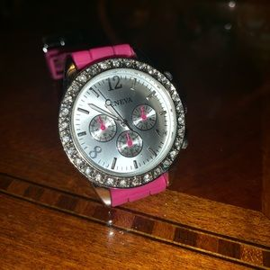 Geneva watch with pink band